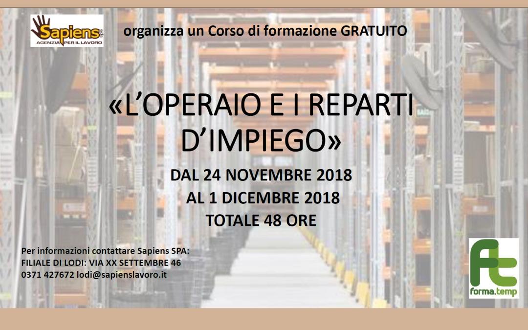 Corso Gratuito – L'OPERAIO E I REPARTI D'IMPIEGO