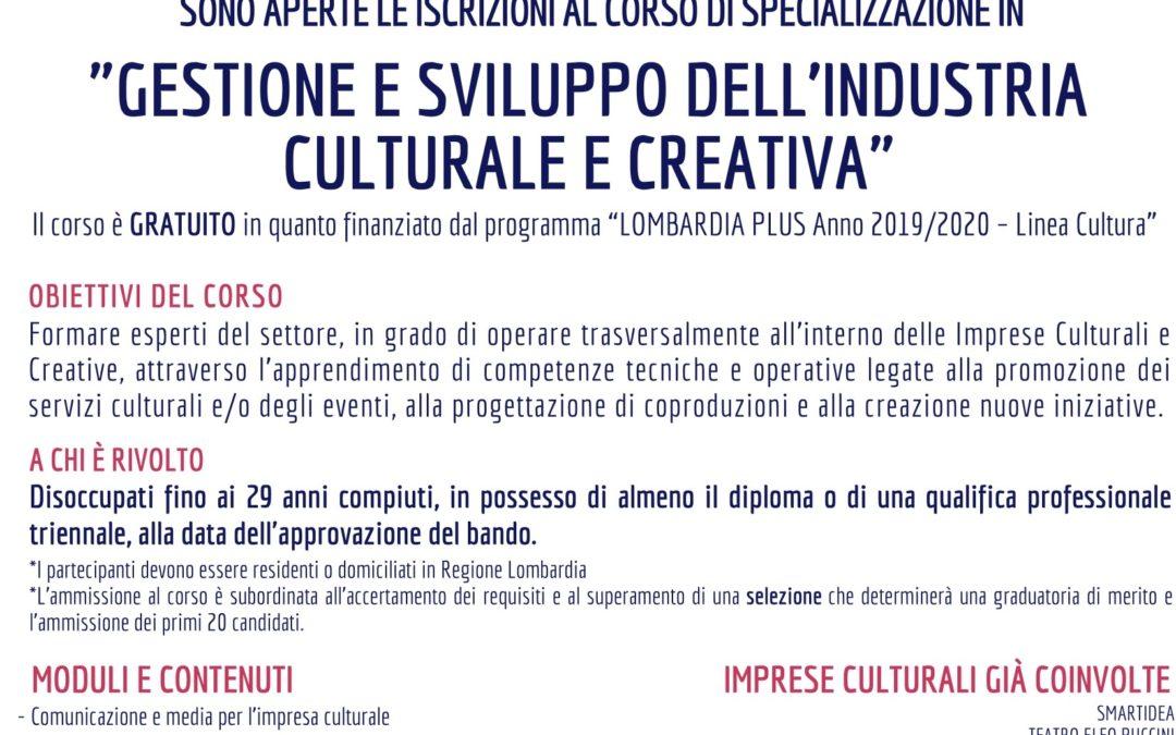 Corso di specializzazione Gestione e sviluppo dell'industria culturale e creativa